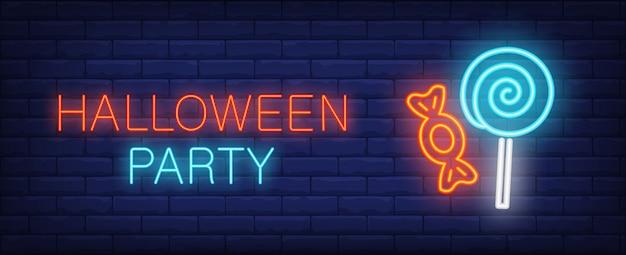 Bannière de style néon halloween party avec régal sur fond de briques
