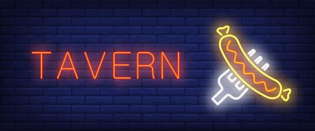 Bannière de style néon de taverne