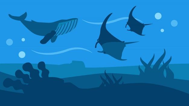 Bannière de style plat panoramique de la faune océanique