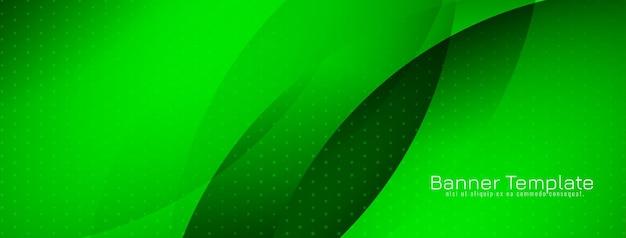 Bannière de style vague moderne de couleur verte brillante