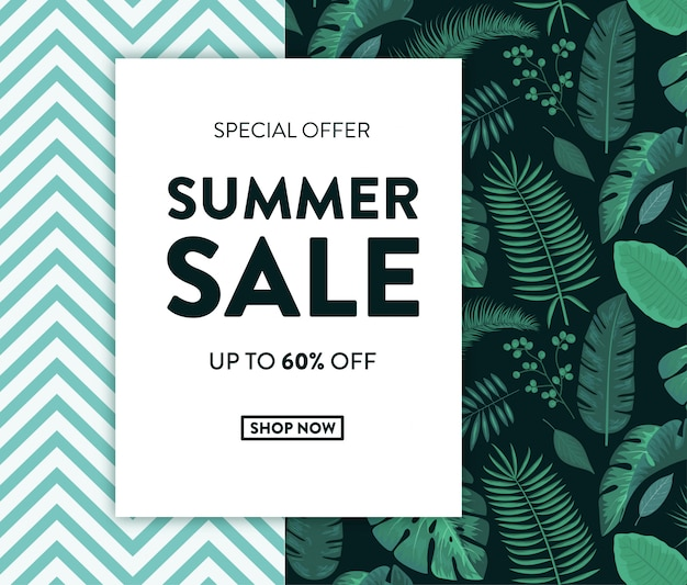 Bannière summer sale avec un design tropical