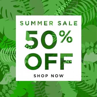 Bannière summer sale avec une plante de la jungle exotique