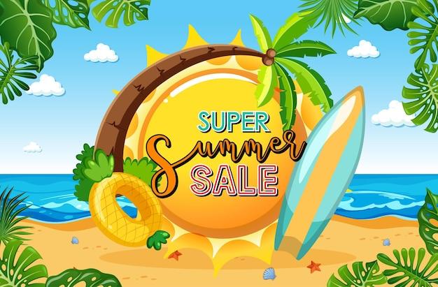 Bannière super summer sale avec scène de plage