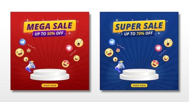 Bannière de super vente avec conception de modèle de podium et icônes emoji