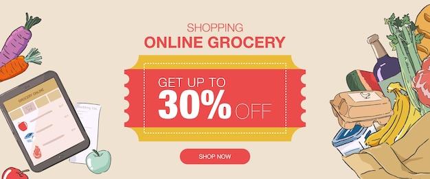 Bannière de super vente d'épicerie en ligne