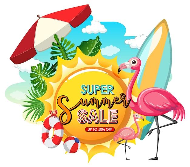 Bannière de super vente d'été avec des éléments d'été isolés
