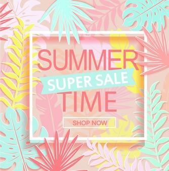 Bannière de super vente de l'heure d'été.