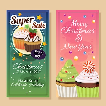 Bannière de super vente de noël avec cupcake