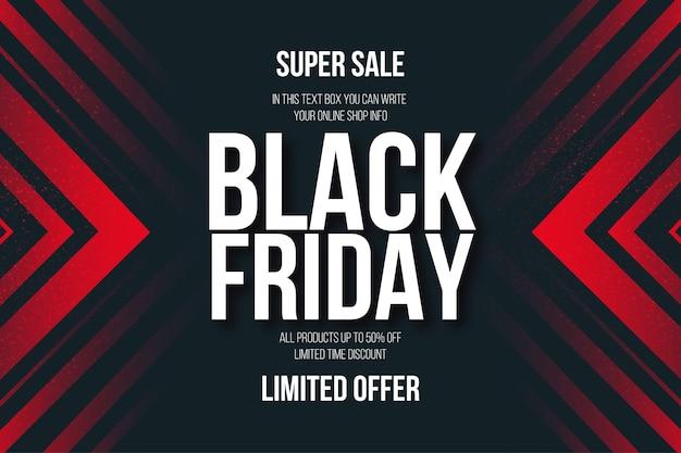 Bannière super vente vendredi noir avec fond abstrait de formes rouges