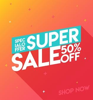 Bannière de super vente. vente et réductions. bannière design plat, affiche de promotion, modèle de flyer de réduction.