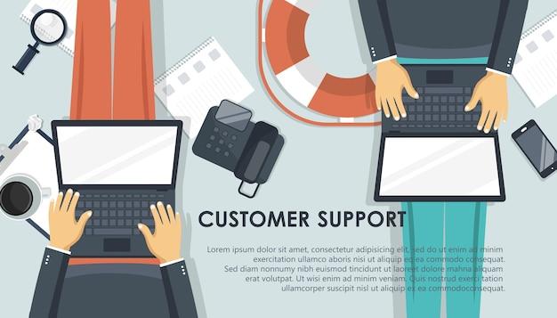 Bannière de support en direct. concept de service client entreprise