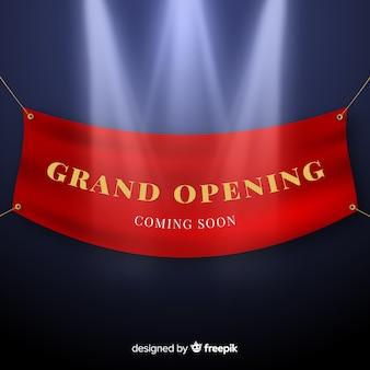 Bannière suspendue réaliste grande ouverture