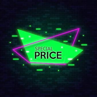 Bannière de symboles néon offre spéciale