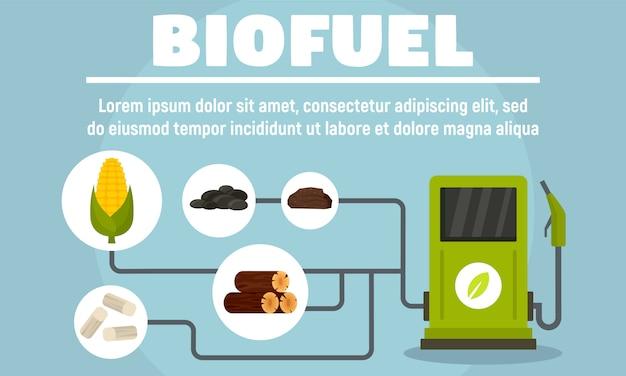 Bannière de système de biocarburants, style plat