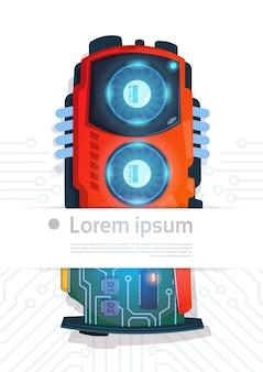 Bannière de système de carte mère de processeur micro de puce informatique avec fond de circuit de l'espace de copie