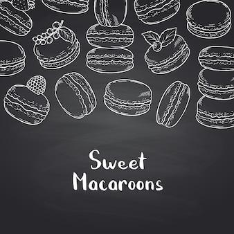 Bannière sur tableau noir avec macarons dessinés à la main