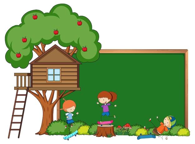 Bannière de tableau vide avec personnage de dessin animé pour enfants et éléments isolés