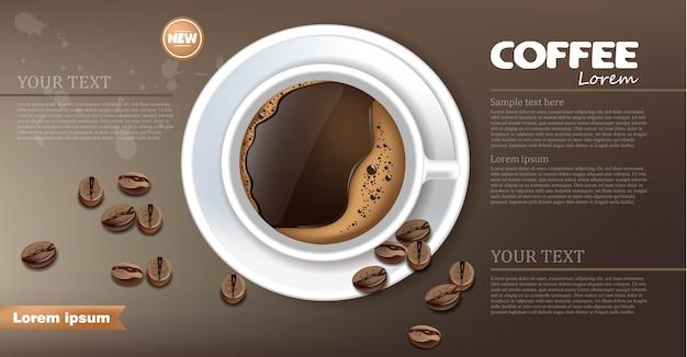 Bannière de tasse de café