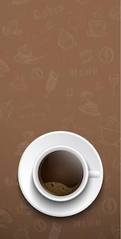 Bannière avec tasse à café