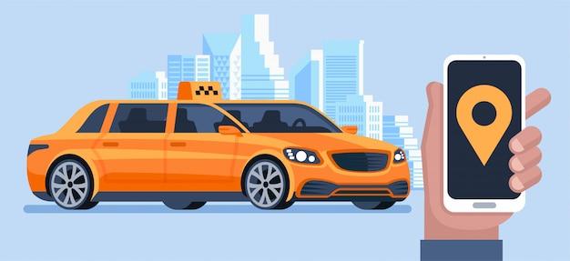 Bannière de taxi. application de commande de taxi en ligne. l'homme appelle un taxi par smartphone