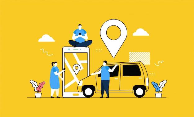 Bannière de taxi en ligne
