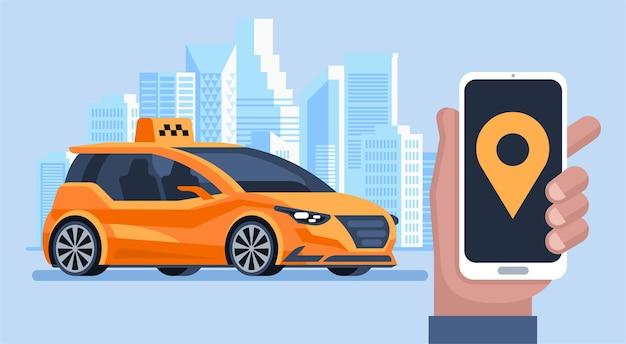 Bannière de taxi. service de taxi de commande d'application mobile en ligne.