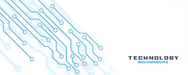 Bannière de technologie blanche avec lignes de circuit
