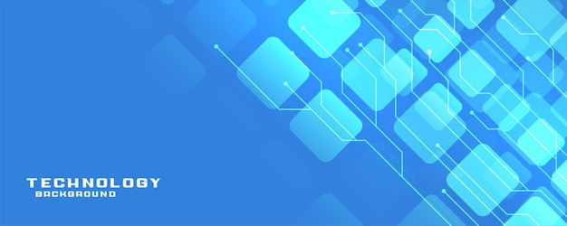 Bannière de technologie bleue avec lignes de circuit