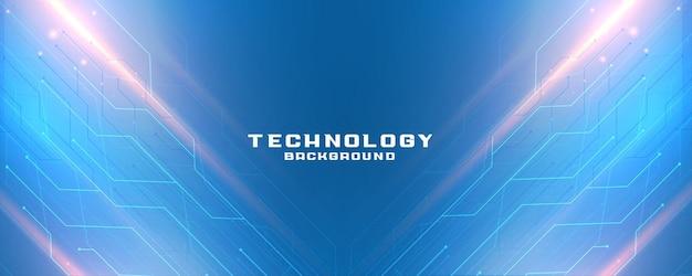 Bannière de technologie bleue avec schéma de lignes de circuit