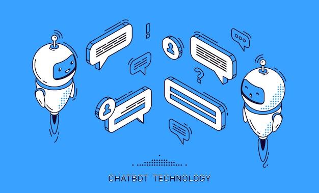 Bannière de technologie chatbot. support client pour robot ia