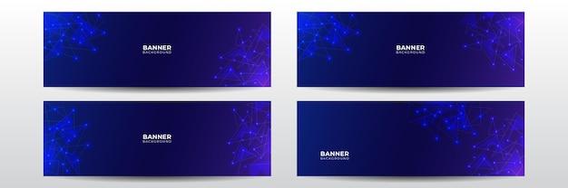 Bannière de technologie futuriste moderne. modèle de bannière longue entreprise vecteur abstrait bleu. arrière-plan minimal d'affaires avec cadre de cercle de demi-teintes. modèle de bannière vectorielle technologique pour les médias sociaux, site web.