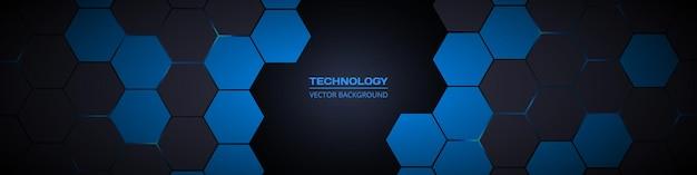 Bannière de technologie hexagonale abstraite large sombre
