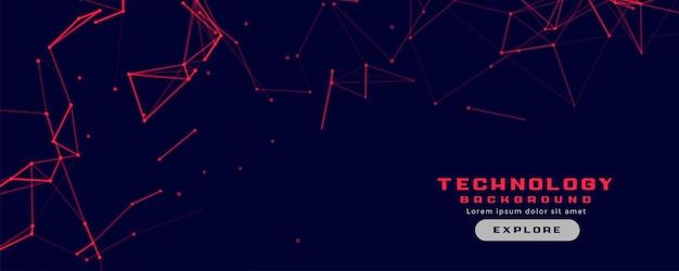Bannière de technologie avec maillage de lignes de réseau rouge