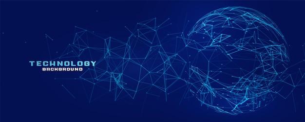 Bannière de technologie de sphère de maillage de réseau numérique