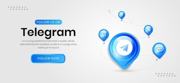 Bannière de télégramme d'icônes de médias sociaux