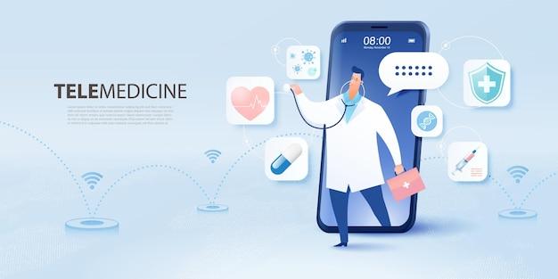 Bannière de télémédecine avec dessin animé plat d'un médecin visiteur utilisant la technologie en ligne via smartphone