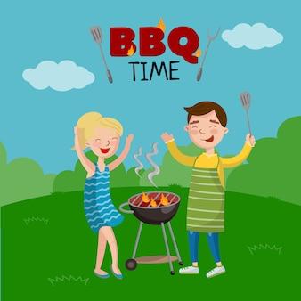 Bannière de temps de barbecue, affiche de style dessin animé avec des gens sur le barbecue de cuisson de pelouse, illustration