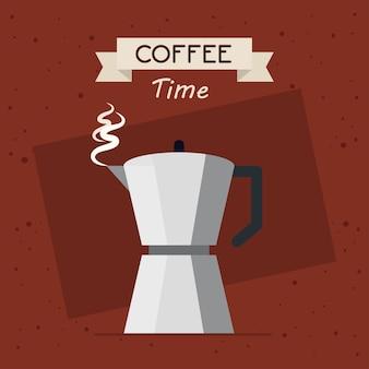 Bannière de temps de café avec conception d'illustration de pot de moka