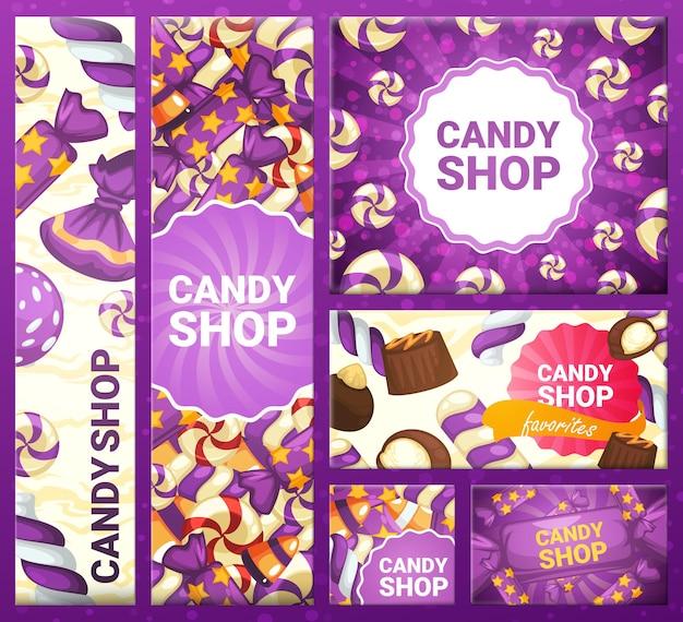 Bannière tendance avec le magasin de bonbons d'inscription, illustration vectorielle