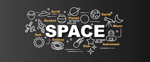 Bannière de tendance vecteur de l'espace