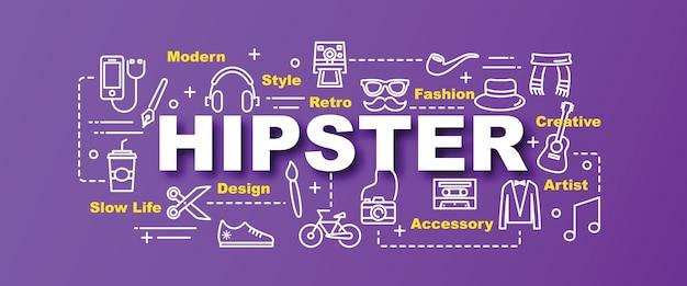 Bannière de tendance vecteur hipster