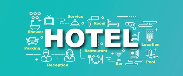 Bannière de tendance vecteur hôtel