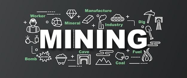 Bannière de tendance vecteur minier