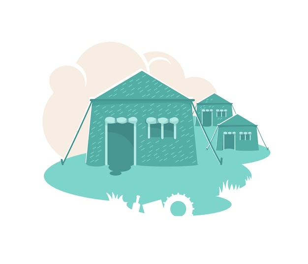 Bannière de tentes militaires, affiche. règlement de l'armée. illustration de caserne sur fond de dessin animé. huttes de combat. patch d'hébergement temporaire des soldats, élément coloré