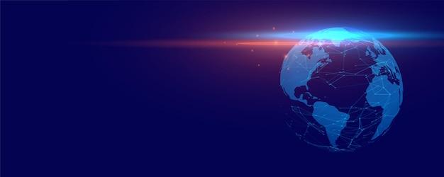 Bannière de terre numérique avec fond de technologie de lumières incandescentes