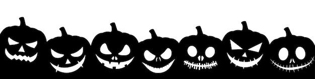 Bannière d'en-tête noire de citrouille d'halloween