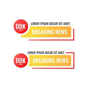 Bannière d'en-tête de nouvelles de dernière heure en dégradé moderne