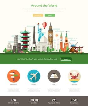 Bannière d'en-tête de site web de voyage design plat