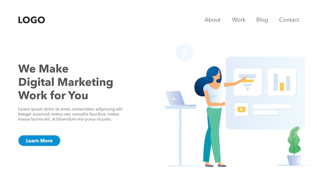 Bannière d'en-tête web pour le thème léger du site web marketing