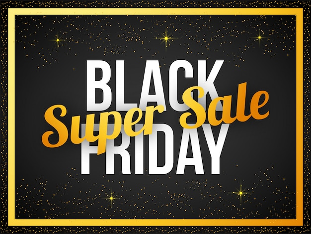 Bannière de texte black friday super sale